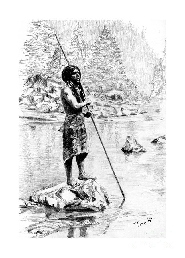 Hupa Fisherman Drawing - Hupa Fisherman by Toon De Zwart
