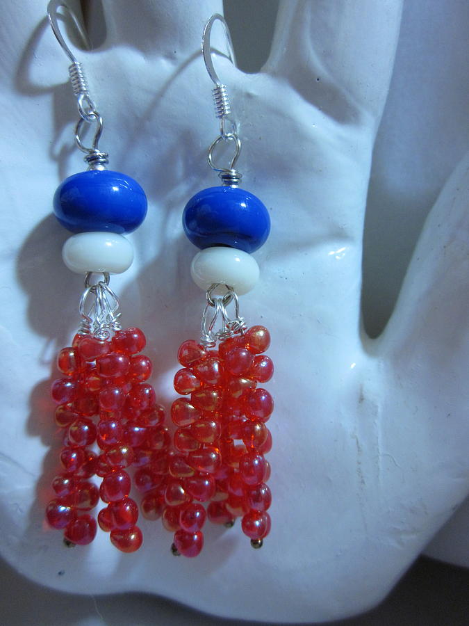 Handmade Lampwork Beads Jewelry - Hurray For The Red White And Blue Earrings by Janet  Telander