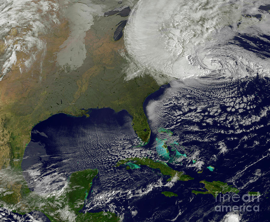 Photography Photograph - Hurricane Sandy Battering The United by Stocktrek Images