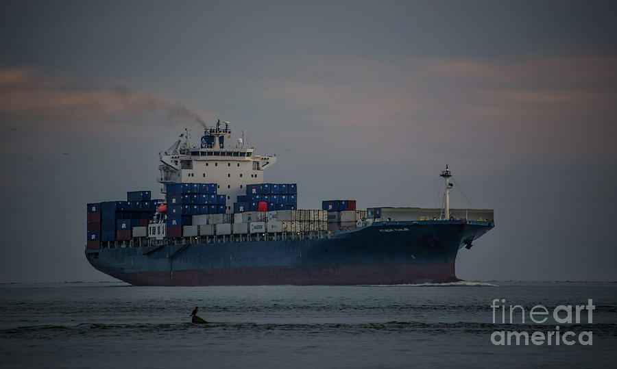Huundai Tianjin Cargo Ship Photograph
