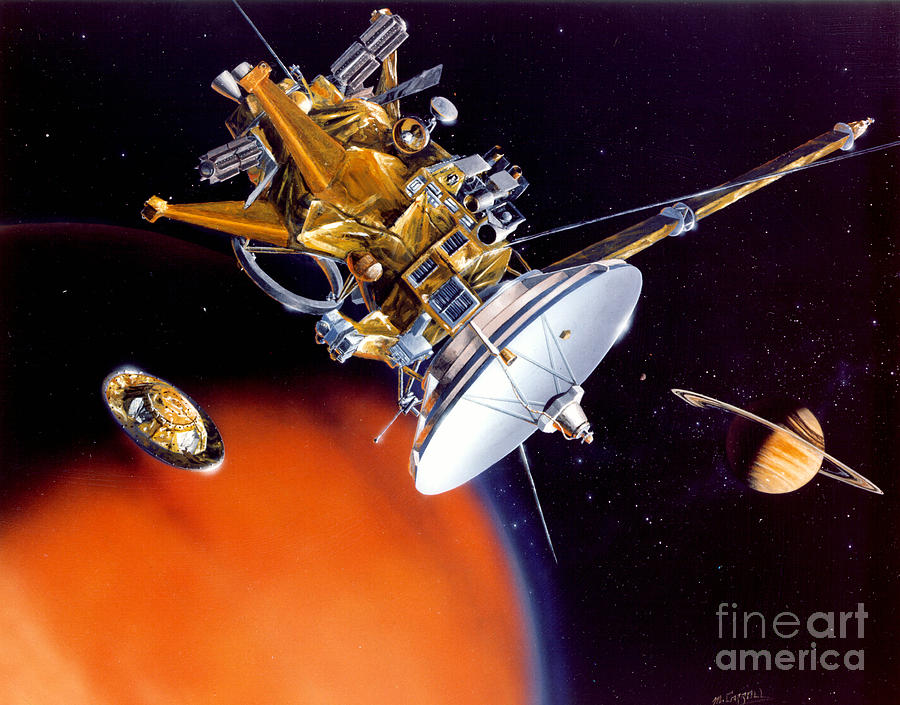 Cassini Spacecraft Drawing - Huygens Probe Separating by NASA and Photo Researchers