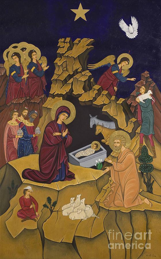 Contemporary Byzantine Art Painting - I Genisis Tou Christou by Marinella Owens