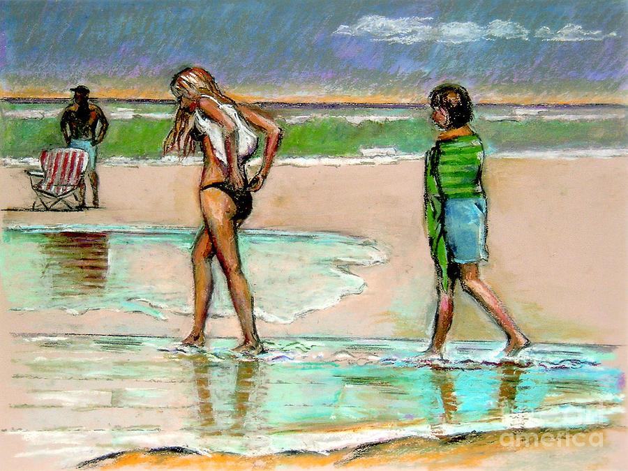 Beach Scene Pastel - I Hope The Sun Comes Out by Stan Esson