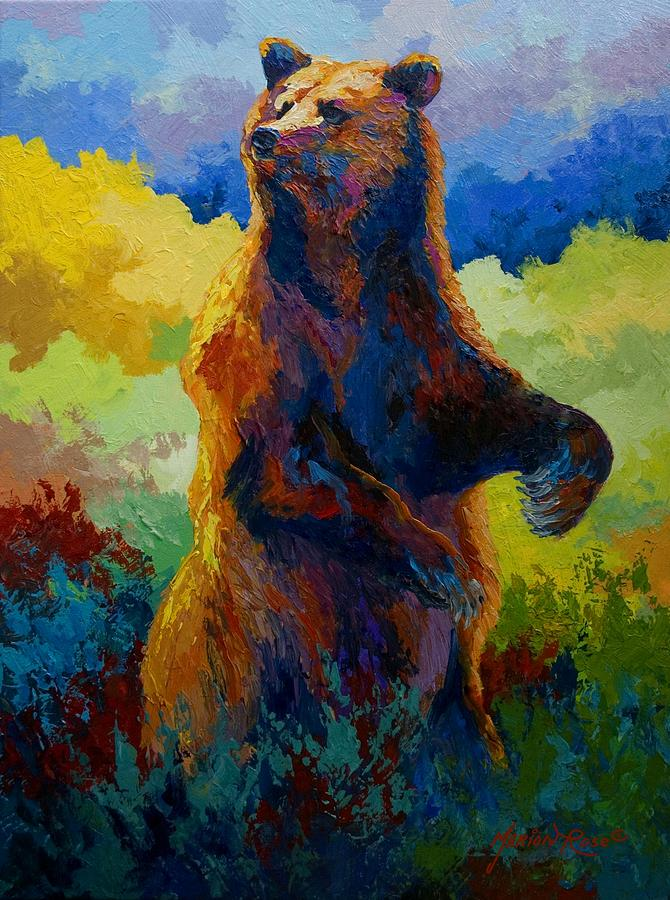 Bear Painting - I Spy - Grizzly Bear by Marion Rose