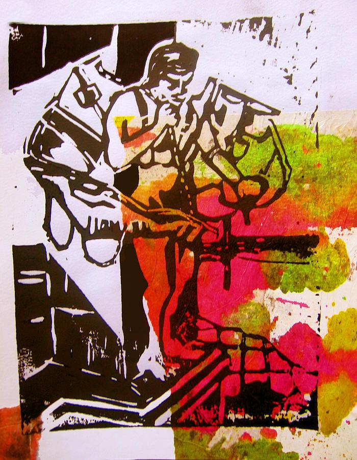 Lino Mixed Media - icarus II by Adam Kissel