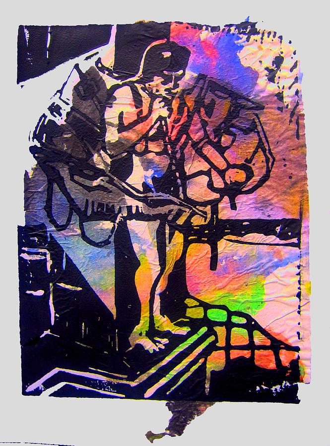 Lino Icarus Birdman Print Mixed Media - icarus III by Adam Kissel