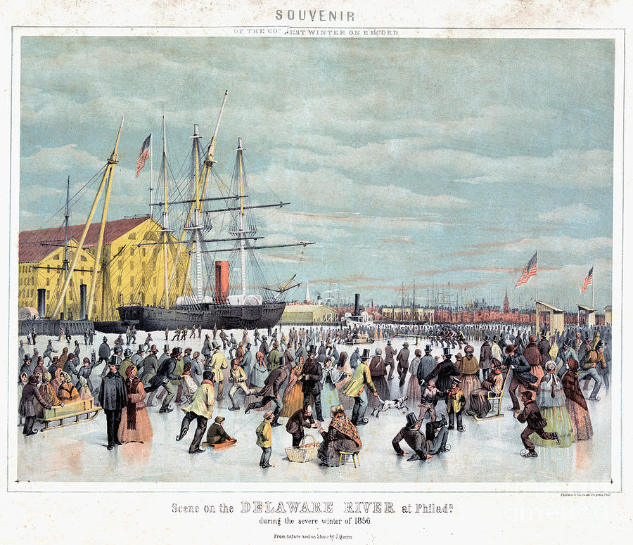 Ice Skaters, C1856 Painting