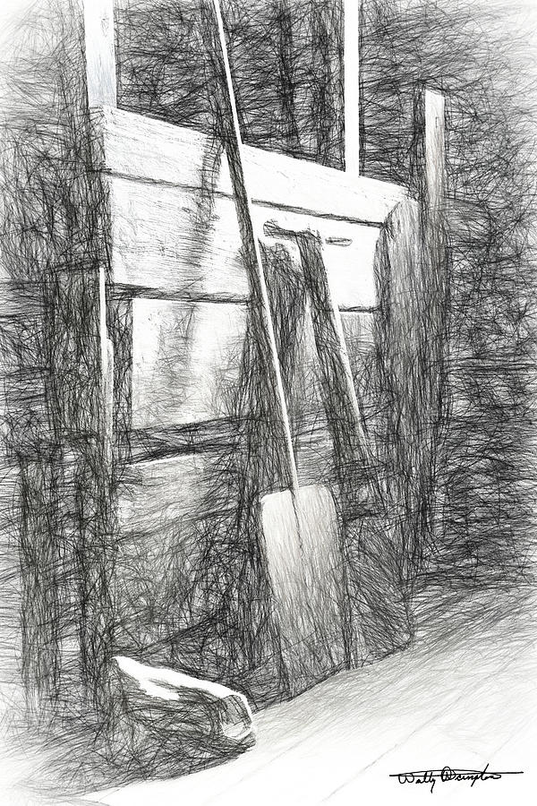 Iceland Barn Still Life Study Drawing