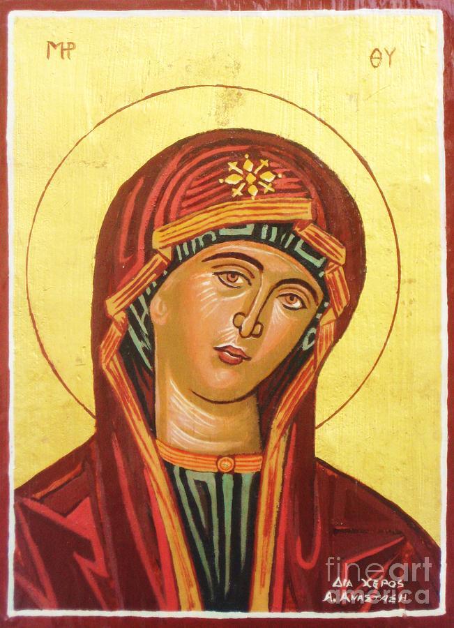 Icon Painting - Icon Of The Virgin Mary. by Anastasis  Anastasi