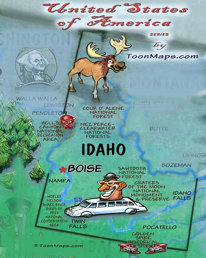 Idaho Fun Map Digital Art