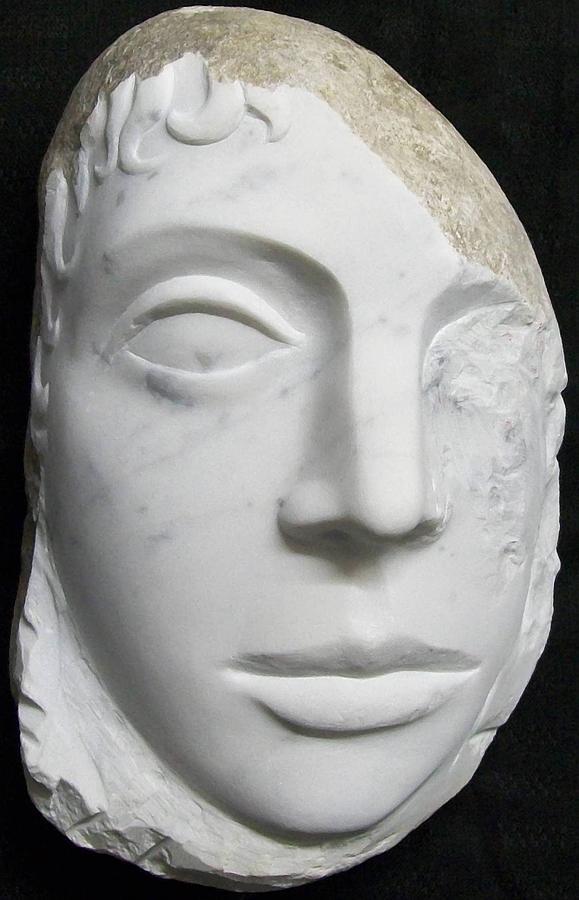 Sculpture Marble Relief David Guetta Portrait Mars Explorer Cydonia Scultura Marmo Ritratto Marte  Sculpture - Idol Of Cydonia by Marino Ceccarelli Sculptor