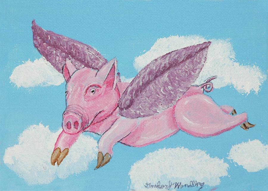Pig Painting - If Pigs Could Fly by Gordon Wendling