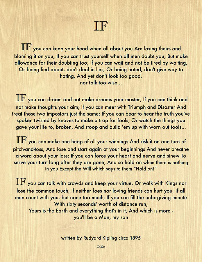 If painting if quote by rudyard kipling on wood panel by desiderata