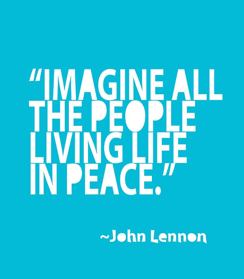 John Lennon Painting - Imagine In Blue by Cindy Greenbean