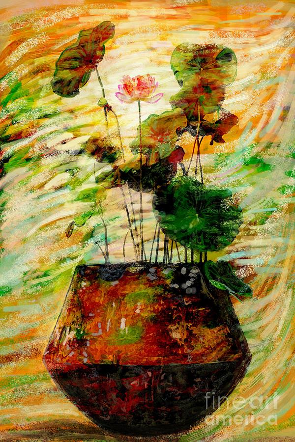 Amtique Digital Art - Impression In Lotus Tree by Atiketta Sangasaeng