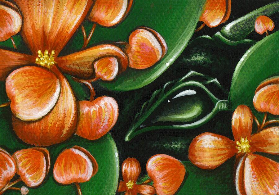 Fantasy Dragon Painting - In The Begonias by Elaina  Wagner