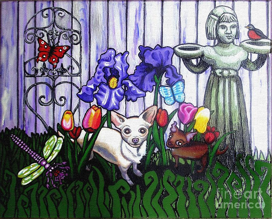 Dog Painting - In The Chihuahua Garden Of Good And Evil by Genevieve Esson