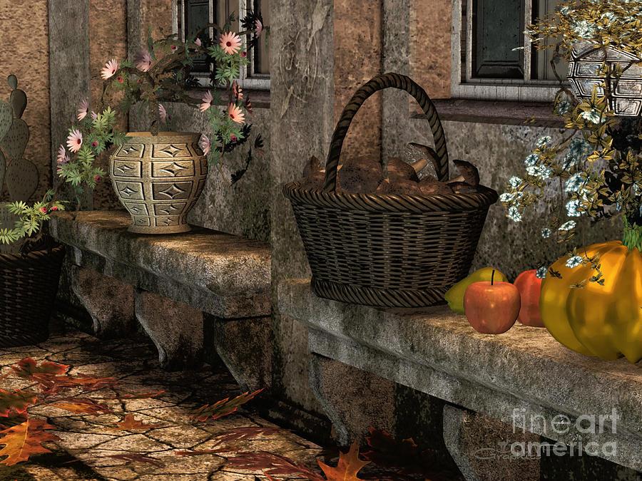 3d Digital Art - In The Courtyard by Jutta Maria Pusl