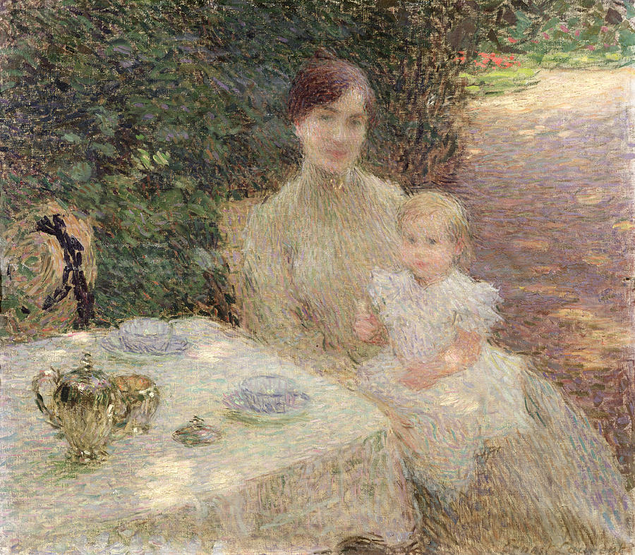 The Painting - In The Garden by Ernest Joseph Laurent