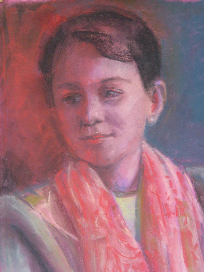 This Wonderfully Fair Young Woman With He Patterned Pink Scarf Was Created In A Cool Light Cast; Her Serene Pose And The Lighting Really Bring Out The Colors In This Beautiful Portrait. Pastel - In The Light by Pamela Preciado