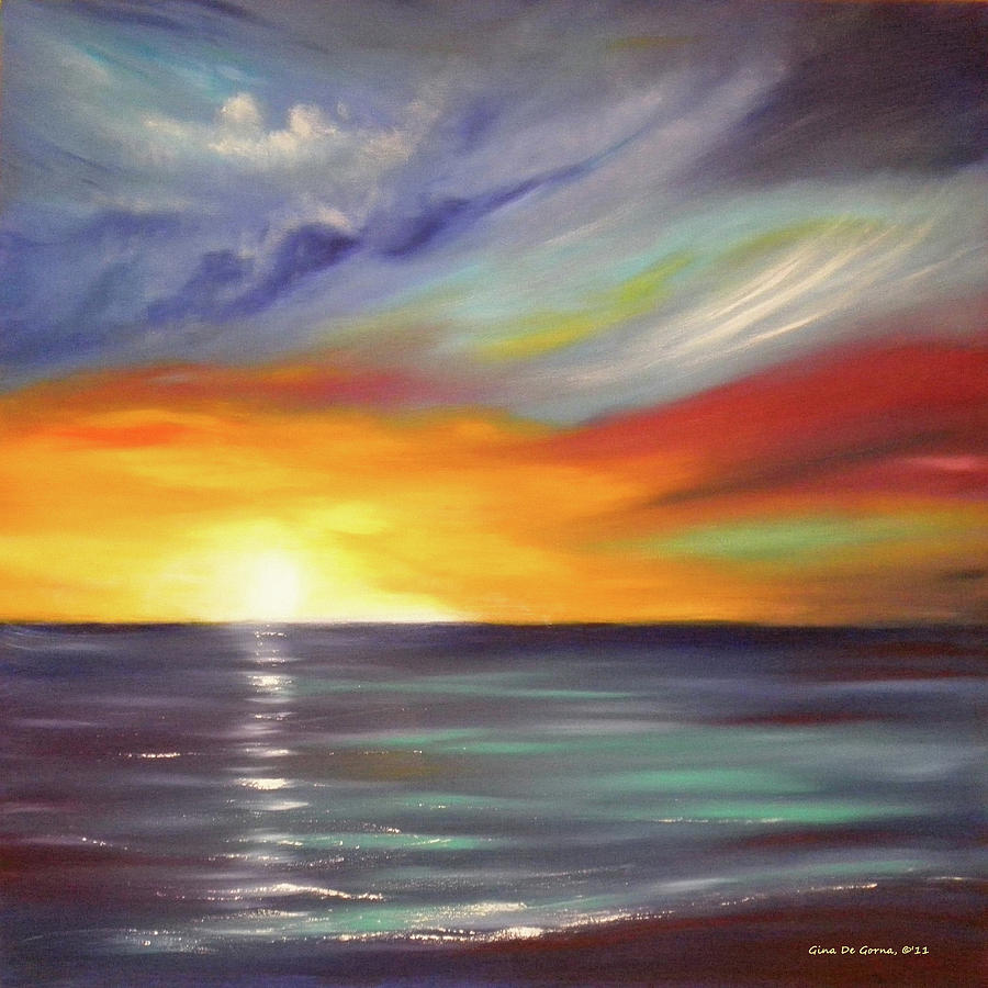 Brown Painting - In The Moment Square Sunset by Gina De Gorna