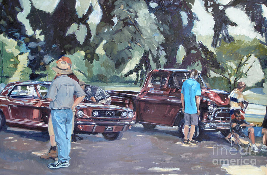 Transportation Painting - In The Red by Deb Putnam