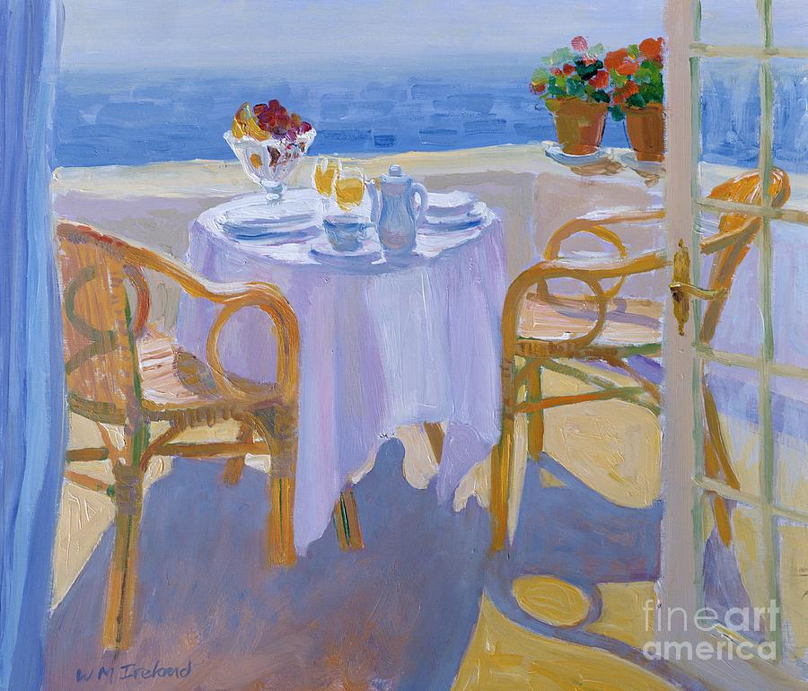 Mediterranean Sea; Terrace; Breakfast Table; Summer; Holiday; Vacation; Balcony; Coast; Coastal; Sunlight; Leisure; Lifestyle; Idyllic; View; Curtain; Glass; Glasses; Plate; Plates; Cup; Bowl; Fruit; Orange Juice; Pot; Pots; Flower; Flowers ; Chair; Chairs Painting - In The South  by William Ireland