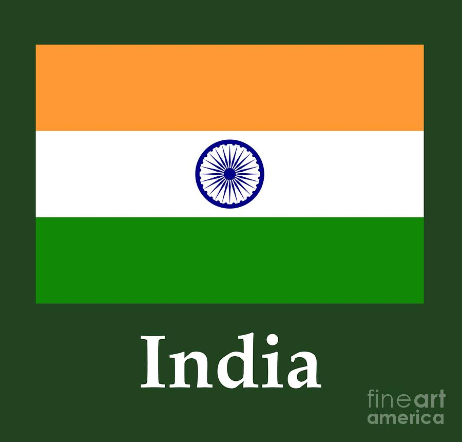 India Flag And Name Digital Art By Frederick Holiday