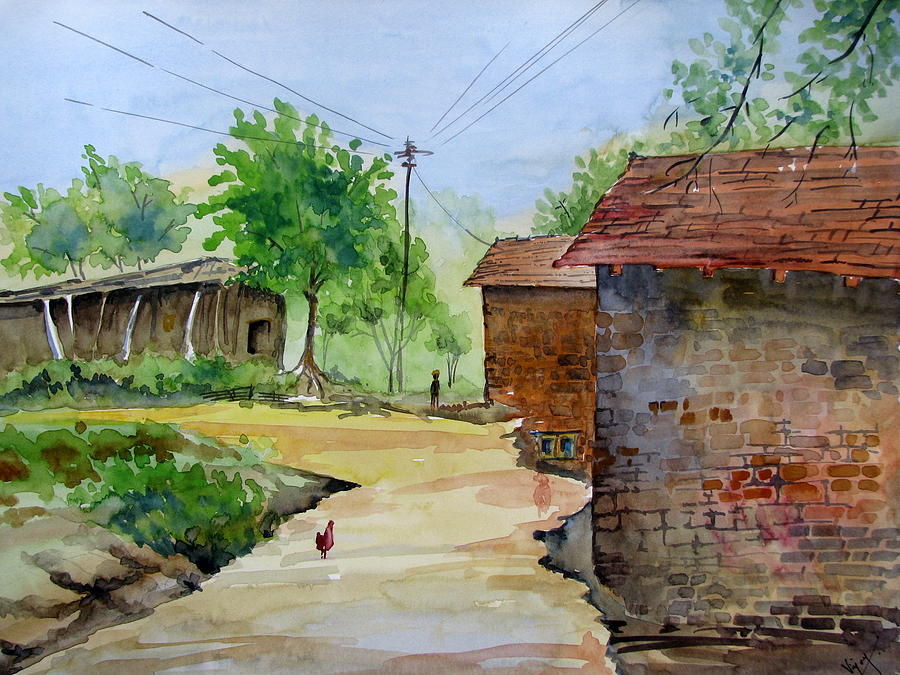 Indian Village Painting by Vijay - 130.6KB