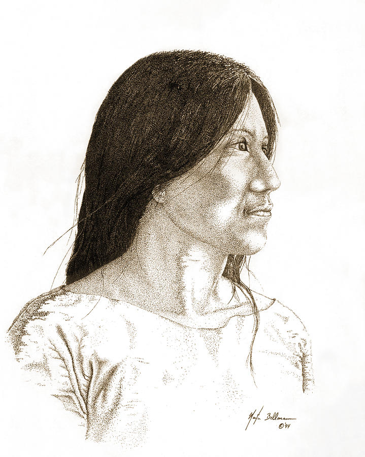 Drawing Drawing - Indian Woman by Martin Bellmann