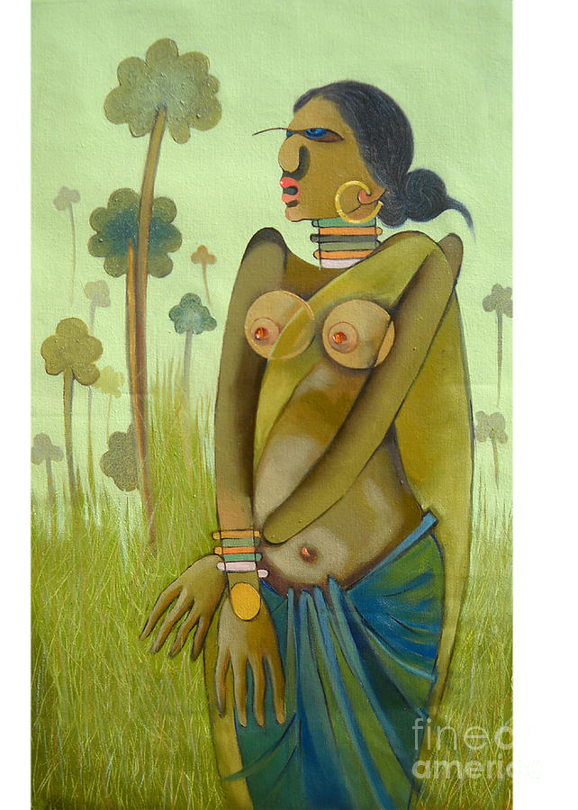 Woman Painting - Indian Woman by Praveen Dhenge