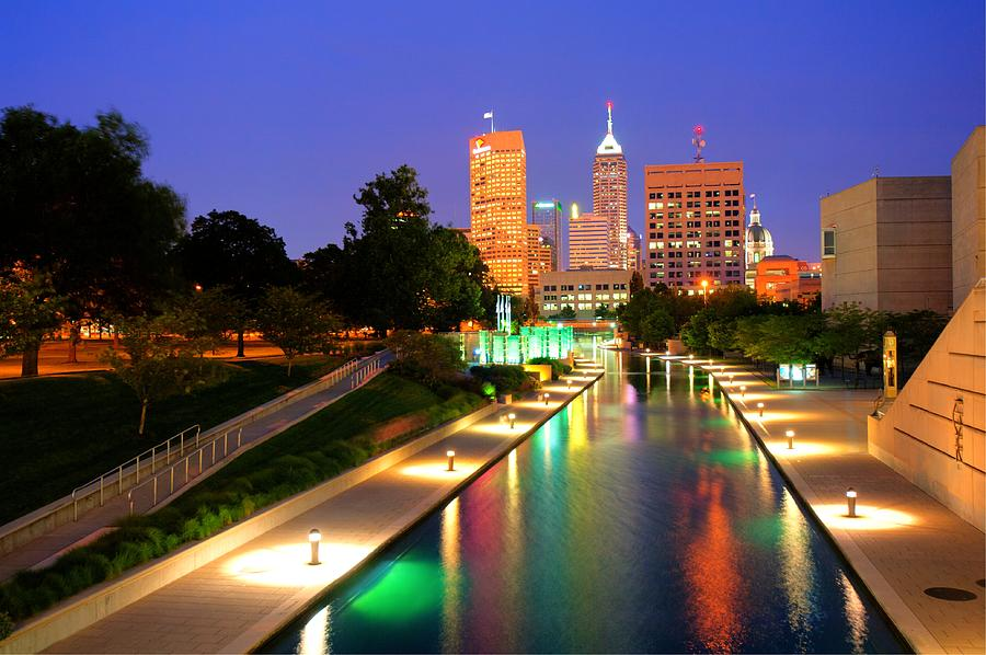 Indianapolis Canal Skyline View Photograph By Gregory Ballos