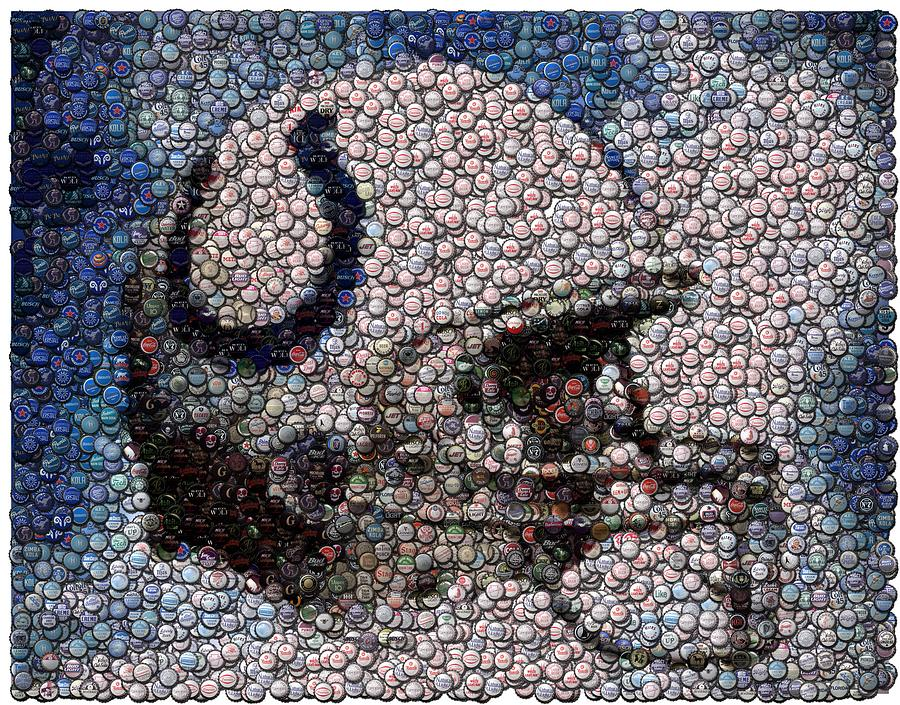 Indy Digital Art - Indianapolis Colts Bottle Cap Mosaic by Paul Van Scott