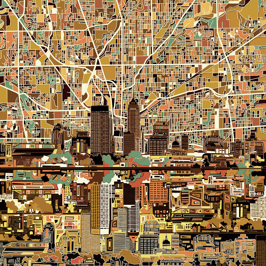 Indianapolis skyline abstract 2 painting by bekim art for Indianapolis painting company