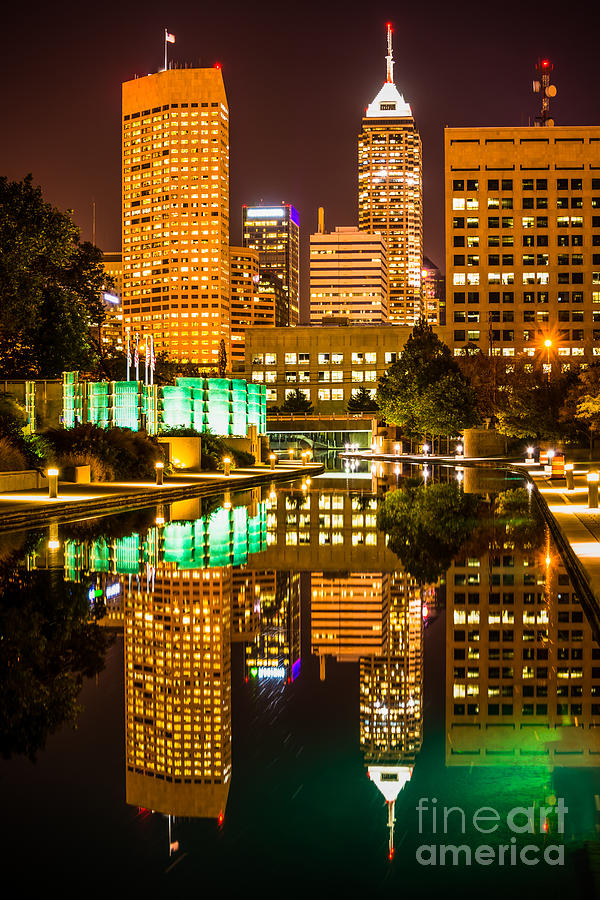Indianapolis Skyline At Night Canal Reflection Picture Photograph