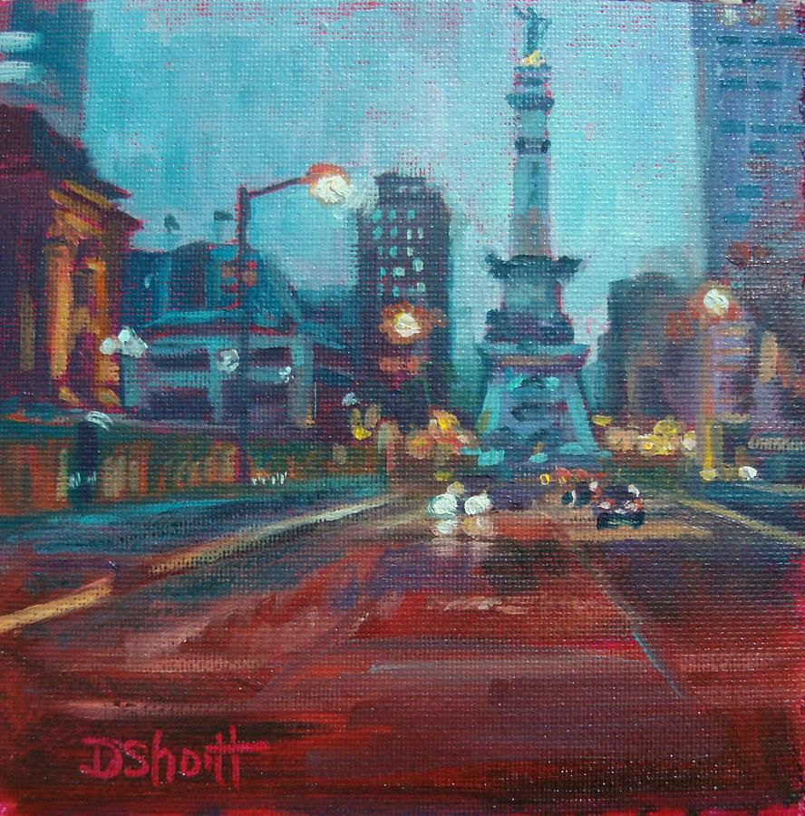 Indianapolis Painting - Indy Circle Night by Donna Shortt