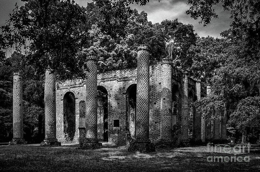 Infrared Of Old Sheldon Church Ruins Photograph