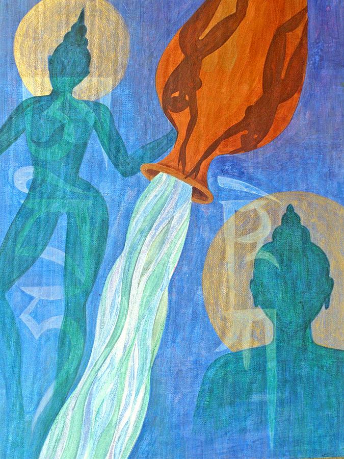 Initiation Enlightenment Abhisheka Vase Water Spiritual Buddha Figures Tibetan Empowerment Painting - Initiation by Jennifer Baird