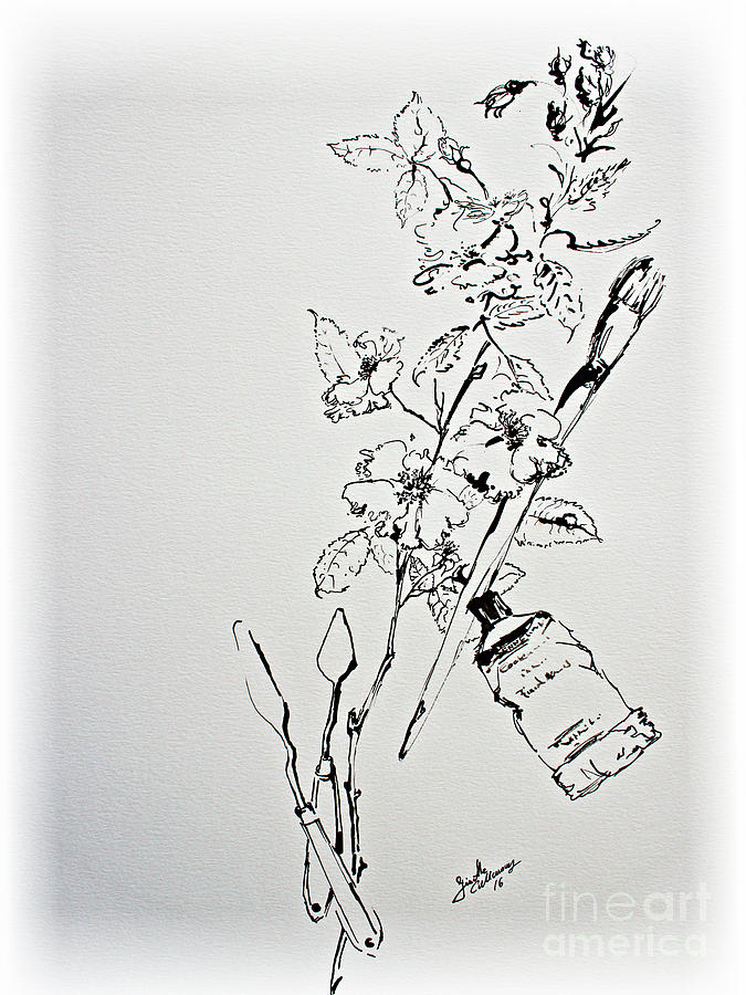 Ink Line Drawing Artists : Ink line art still life flowers and objects drawing by