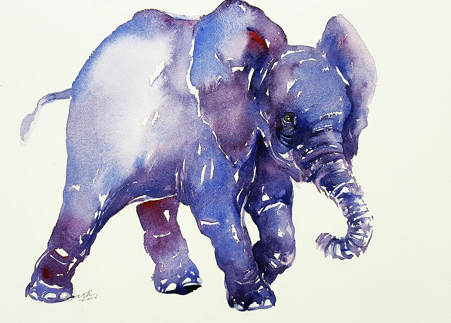 Watercolor baby elephant