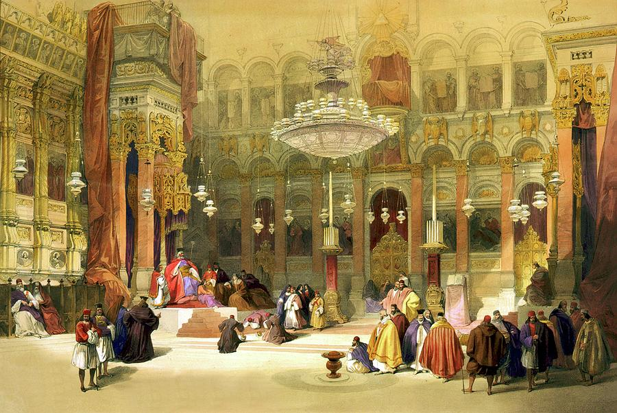 Church Of The Holy Sepulchre Drawing - Inside The Church Of The Holy Sepulchre by Munir Alawi
