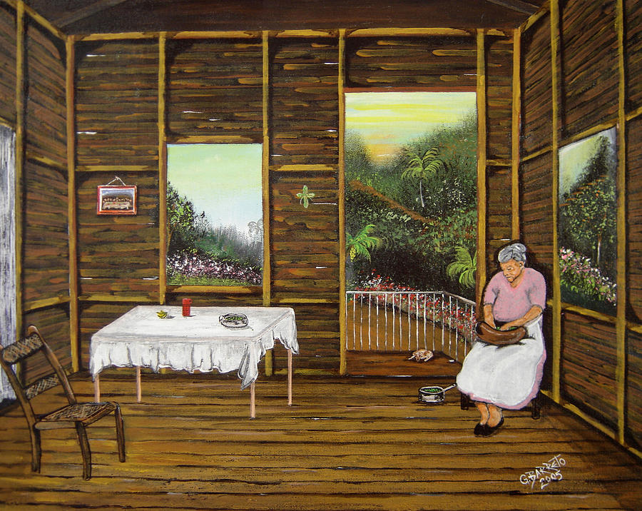 Puerto Rico Wooden Home Painting - Inside Wooden Home by Gloria E Barreto-Rodriguez