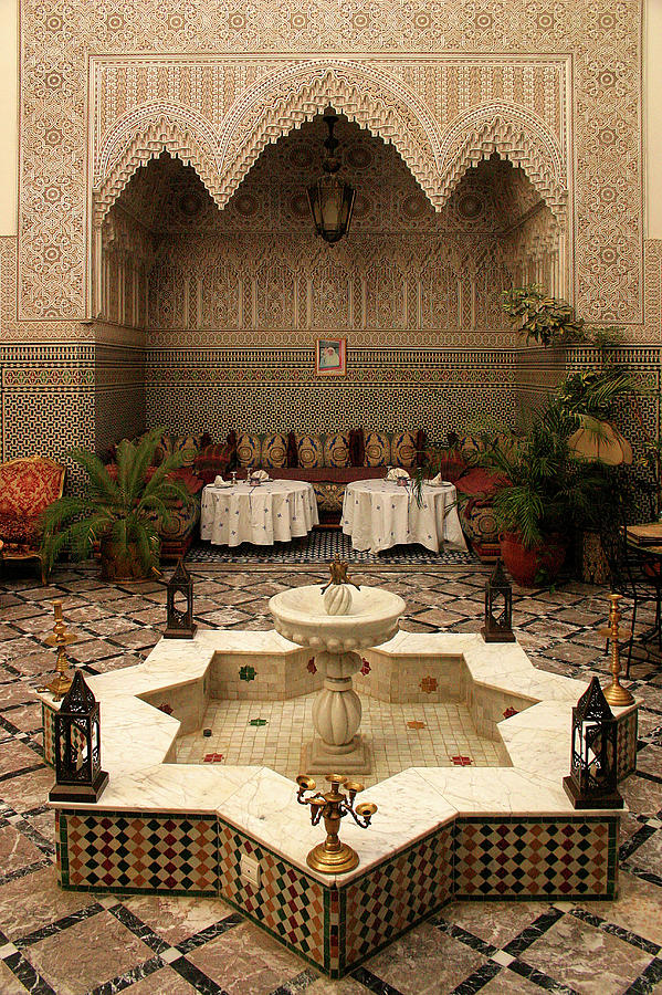 Interior Of A Traditional Riad In Fez Photograph