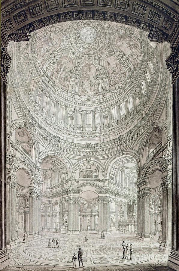 Interior Of Saint Pauls Cathedral Drawing