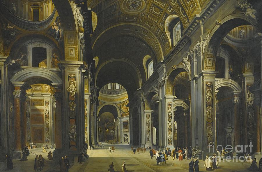 interior of st peter rome painting by louis haghe. Black Bedroom Furniture Sets. Home Design Ideas