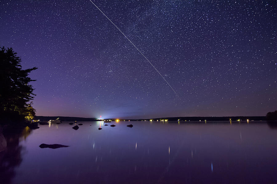 International Space Station Over Branch Lake Photograph