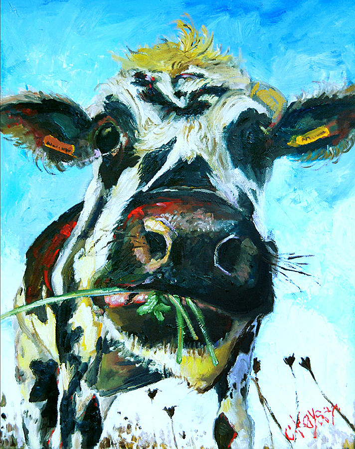 Cow Painting - Interruption by Claire Kayser