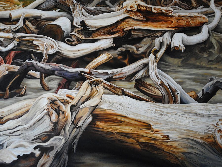 Driftwood Painting - Intertwined by Chris Steinken