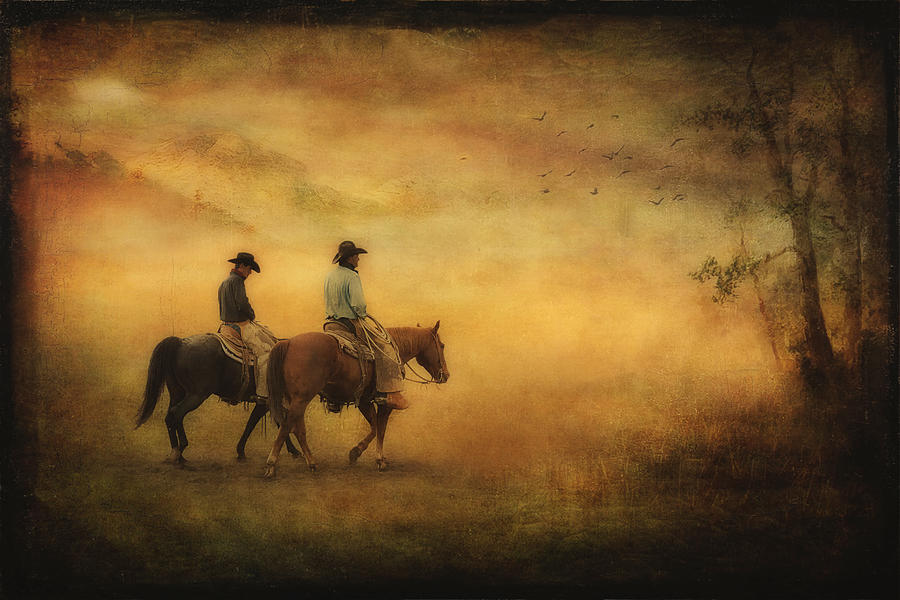 Cowboys Photograph - Into The Mist by Priscilla Burgers