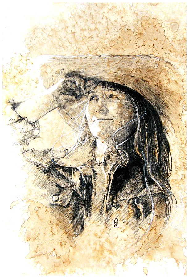 Cowgirl Drawing - Into The Sunset by Debra Jones